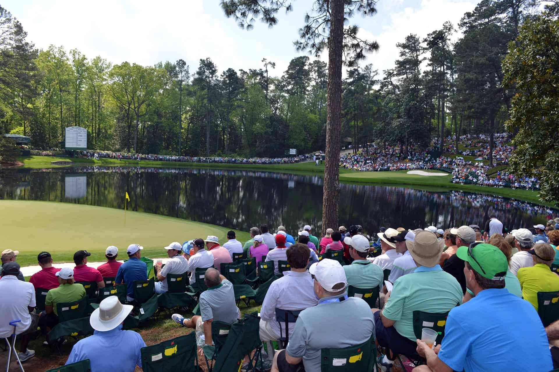 Fan view from stands of The Masters par 3 contest.